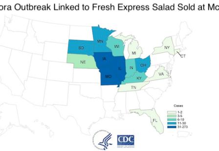 McDonald's Fresh Express Salad Cyclospora Outbreak Map