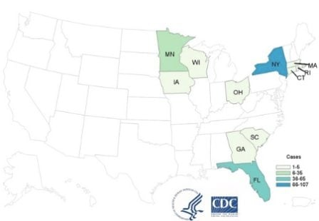 Cyclospora Lawyer basil outbreak CDC map 8:16:19