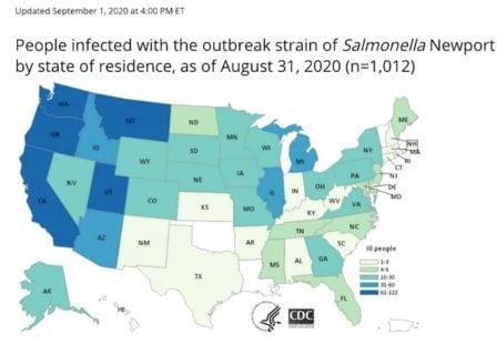 Salmonella lawyer-Onion Salmonella outbreak CDC map
