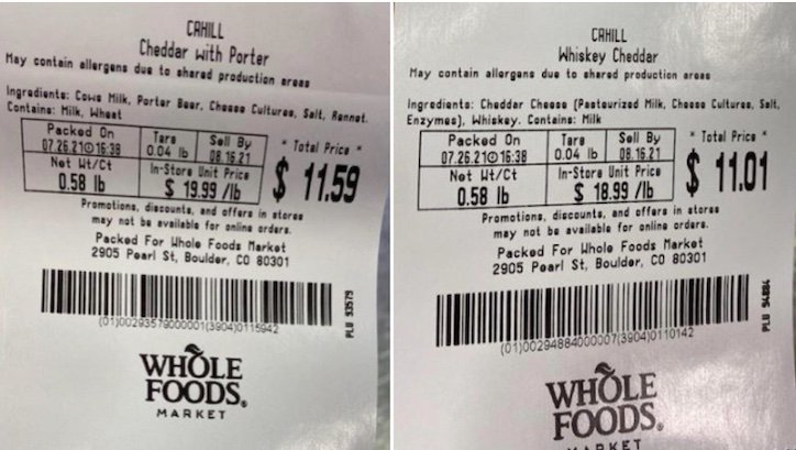 Cahill cheese Listeria recall at Whole Foods