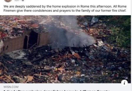 Rome WI Volunteer Fire Dept Facebook page explosion