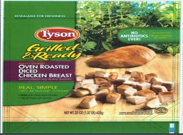 Tyson cooked chicken Listeria recall