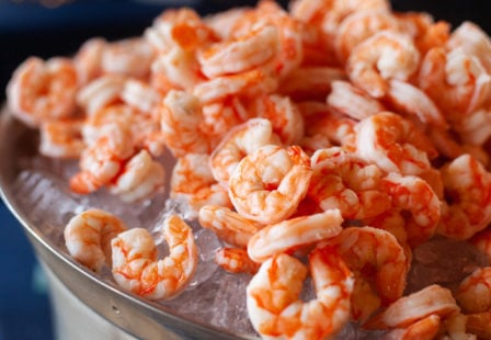 Salmonella lawyer- shrimp piled on ice in a tray